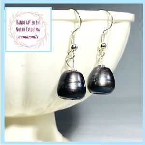 Handmade Sterling Earrings Grey Purple Pearl